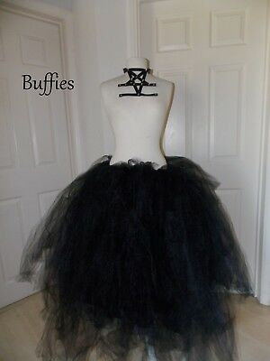 Long Tutu Black Witch Fancy Dress Vixen Vampire Gothic Wedding Size 8-22 • 35£