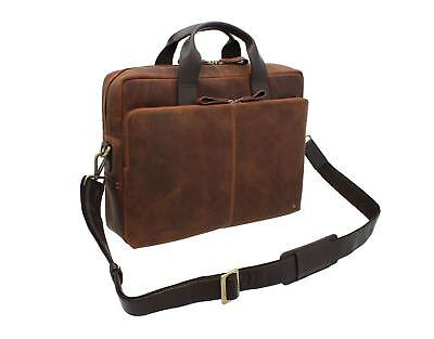 Visconti Toscana Collection Distressed Oiled Leather Laptop Bag - HUGO 15 TC84 • 159.99£