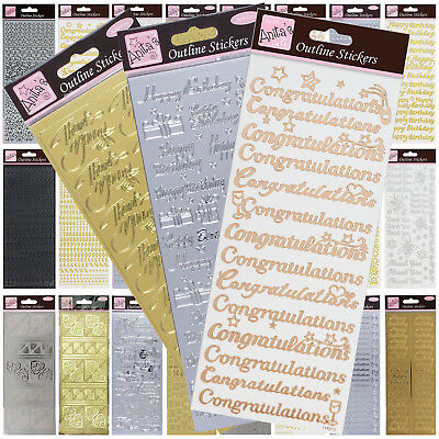 £2.29 • Buy Anitas Outline Stickers Peel Offs  Card Crafts  Gold Silver Letters Numbers