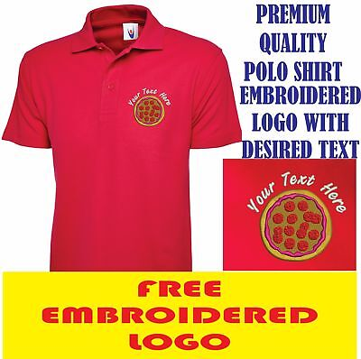 Embroidered Pizza Shop Logo Polo Shirt, Workwear Uniform Chicken Shop Top • 10.99£