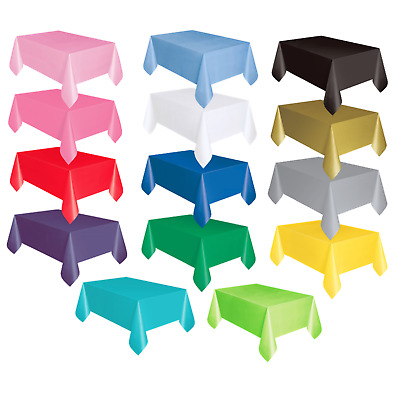 £2.99 • Buy Plastic Tablecloths Oblong Rectangle Gold Black Silver Pink Red Blue Table Cover