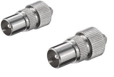 £2.28 • Buy 2 X MALE TV COAX ARIEL CONNECTOR PLUGS TV AERIAL FOR CABLE LEAD Silver