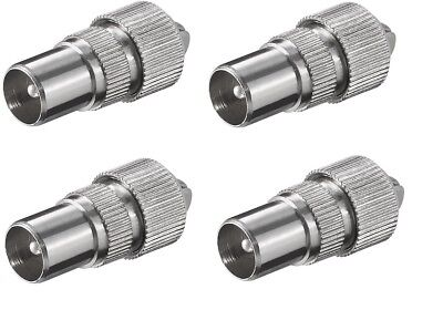 £2.74 • Buy 4 X MALE TV COAX ARIEL CONNECTOR PLUGS TV AERIAL FOR CABLE LEAD Nickle Brass