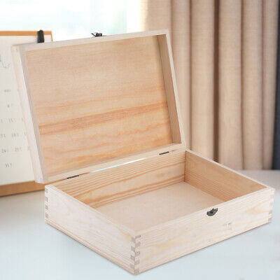 A4 Wooden Document Box Case Hinged Lid Untreated Natural Wood Magazine Storage • 8.89£