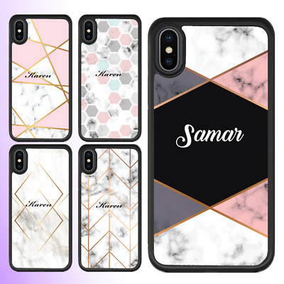 AU12.95 • Buy IPhone 11 Pro Max XS XR X 8 Case Marble I Personalised Text Initial Custom Name