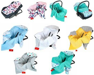 *** CAR SEAT BABY BLANKET / COSYTOES / SPRING / SUMMER / MINKY / NEW -Reversible • 19.99£