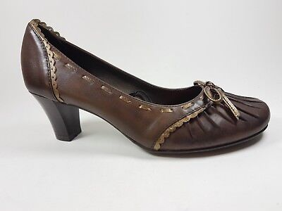 Jana Brown Leather Mid Heel Shoes Uk 3.5 G New With Box • 16.99£