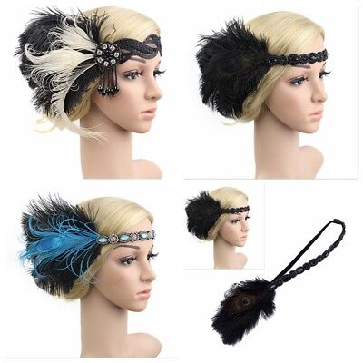 £4.99 • Buy UK 1920s Headband Feather 20's Bridal Great Gatsby Flapper Gangster Headpiece