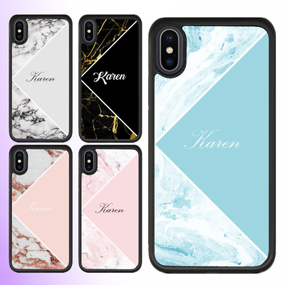 AU11.99 • Buy IPhone 12 Pro Max 11 XS XR Case Marble II Personalised Text Initial Custom Name