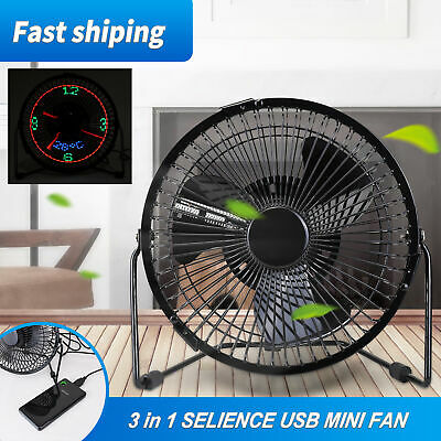 AU28.55 • Buy 3 In 1 Portable Usb Salience Mini Fan Led Display Clock Time Thermometer