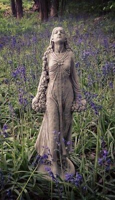 Garden Statue Lady With Rose Garland Grey Frost Resistant Stone Standing Garland • 126£