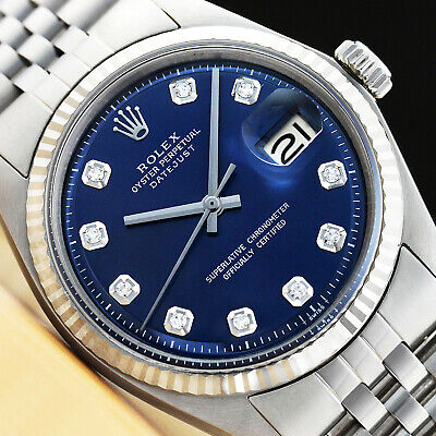 $ CDN4411.17 • Buy Mens Rolex Datejust 18k White Gold & Stainless Steel Blue Diamond Dial Watch