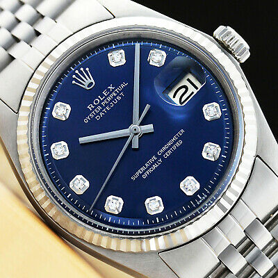 $ CDN4414.09 • Buy Mens Rolex Datejust 18k White Gold & Stainless Steel Blue Diamond Dial Watch