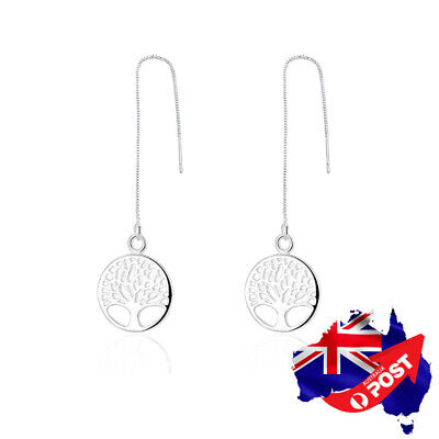 AU9.99 • Buy New 925 Sterling Silver Filled Lady's Tree Of Life Drop Thread Threader Earrings