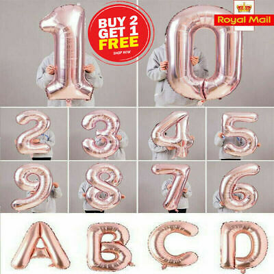 40  Giant Foil Number Rose Gold Helium Large Baloon Birthday Party Wedding Decor • 2.79£