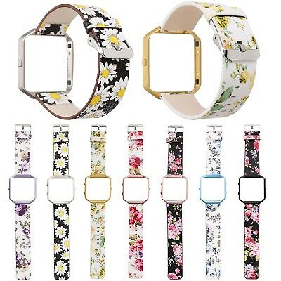 AU19.34 • Buy Protective Cover Colorful Leather Band Flower Belt For Fitbit Blaze Watch Strap