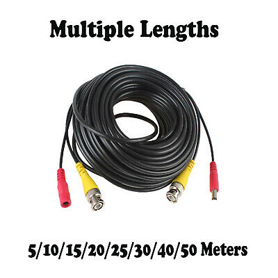 £4.89 • Buy 5M-40M BNC DC Power Lead CCTV Security Camera DVR Video Record Extension Cable