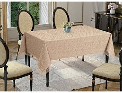 Luxury Rectangular Tablecloths In PINK GOLD With Lace Finish Edges 150 X 220cm • 18.12£