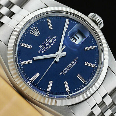 $ CDN5213.54 • Buy Rolex Mens Datejust Blue Dial 18k White Gold & Stainless Steel Quickset Watch