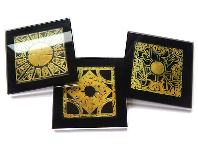 HELLRAISER PUZZLE BOX Set Of 3 Premium Glass Table Coasters With Gift Boxes • 18.99£