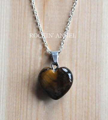 925 Silver Necklace & 16mm Tigers Eye Heart Pendant Reiki Healing Ladies Gift  • 6.49£