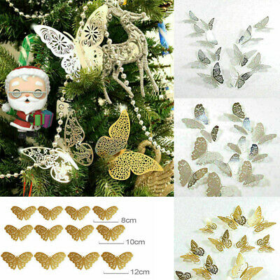 12X Christmas Tree Glitter Butterfly Hanging Home Party Decorations • 2.69£