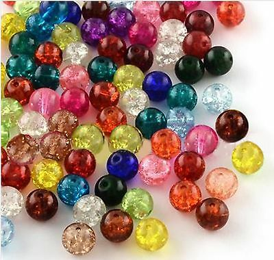 100 X 6mm CRACKLE GLASS BEADS MIXED COLOURS FOR JEWELLERY MAKING AND CRAFTS B13 • 1.89£