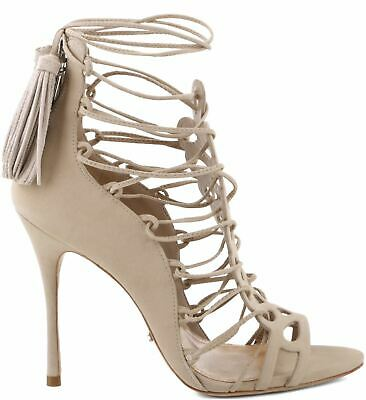 6a85fa321a5b Schutz Drew Oyster Nude Strappy Tie Up High Heel Single Sole Dress Sandals  • 71.99