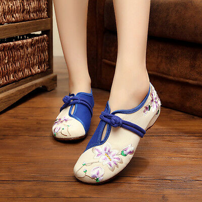 Chinese Embroidered Floral Shoes Women Ballerina Flat Ballet Cotton Loafer Size • 9.09£