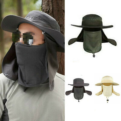 $9.99 • Buy Hiking Fishing Boonie Hat Outdoor Sun Protection Neck Face Flap Cap Wide Brim
