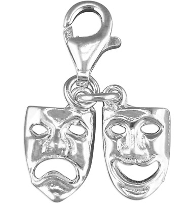 £11.50 • Buy Silver Pendant Charm Comedy Tragedy Theatre Mask Clip On  925 Sterling Silver