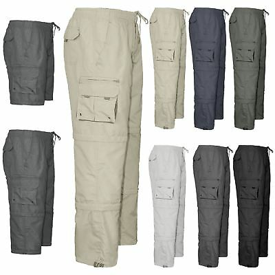 £13.99 • Buy Mens Elasticated Summer Trousers New Cargo Combat Work Pants Lightweight Shorts