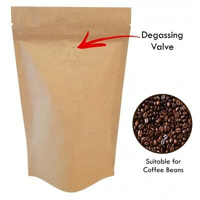 Kraft Paper With Valve  Bag Stand Up Pouches Coffee Bag Seeds Nuts Heat Seal Bag • 2.99£