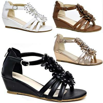 £9.95 • Buy Womens Ladies Wedge Summer Beach Fashion Strappy Comfort Sandals Shoes Sizes