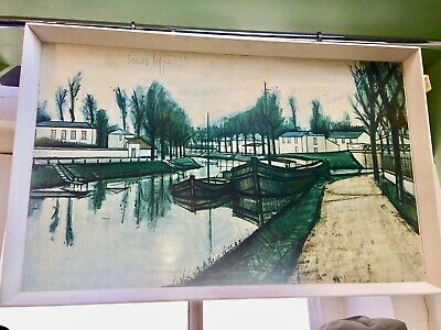 £65 • Buy Vintage Bernard Buffet Large Print Picture Canal Waterside Boat Canalboat