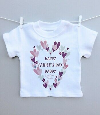 £6.99 • Buy Personalised Baby T-shirt Top 1st Fathers Day Daddy Heart Wreath Pretty Gift