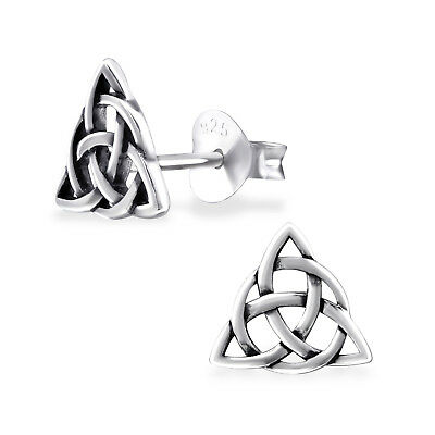 925 Sterling Silver Celtic Knot Triangle Stud Earrings (Design 3) • 6.99£