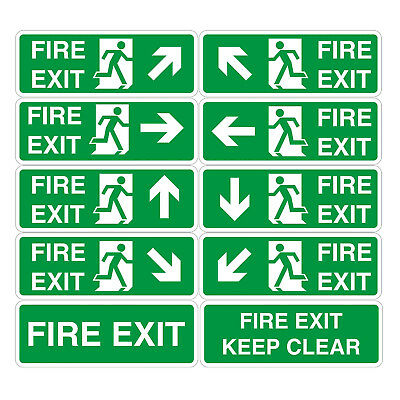 Fire Exit Sign Vinyl Sticker - All Sizes - Emergency Escape Fire Drill • 0.99£