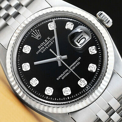 $ CDN4411.17 • Buy Mens Rolex Datejust 18k White Gold & Stainless Steel Black Diamond Dial Watch