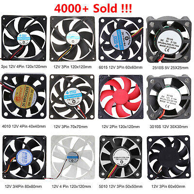 £1.52 • Buy 30/40/50/60/70/80/120mm DC 12V 2/3/4Pin Mini Cooler Cooling Fan For PC Computer