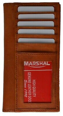$9.99 • Buy New Genuine Leather Checkbook Cover With Credit Card And ID Holder Wallet Tan