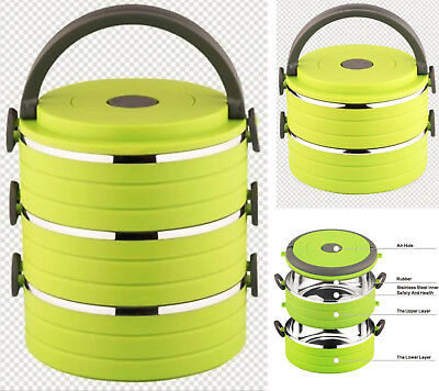 AU90.20 • Buy Tiffin Lunch Box Bento Thermos Heat Food Container Portable Compact Food Warmer