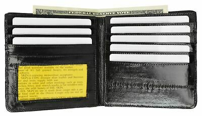 $20.99 • Buy Men's Eel Skin Leather Bifold Wallet Slim Hipster Cowhide Credit Card And ID New