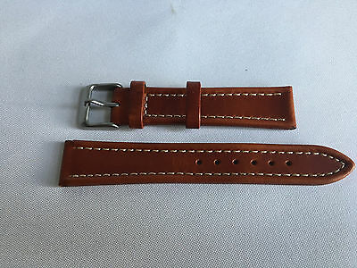£9.99 • Buy Genuine Leather 18mm Brown Watch Strap Band Gents Silver Buckle For Omega,Smiths