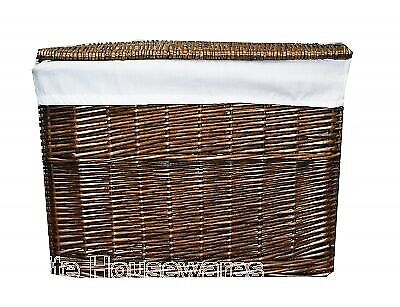 Woodluv Lrg Brown Wicker Storage Basket Trunk Chest Hamper Lidded W/ White Linin • 32.99£