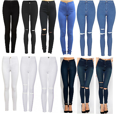 £11.49 • Buy Womens High Waisted Skinny Jeans Ripped Ladies Jeggings Knee 6 8 10 12 14 16 18