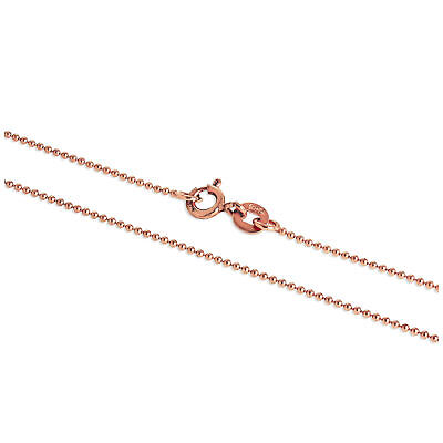 £5.65 • Buy Real 925 Rose Gold Plated Sterling Silver 1mm Bead Chain 16 Inches