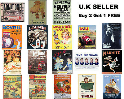 £4.99 • Buy Retro Vintage Advertising Metal Signs A5 Bovril Marmite Frys Chocolate Comic