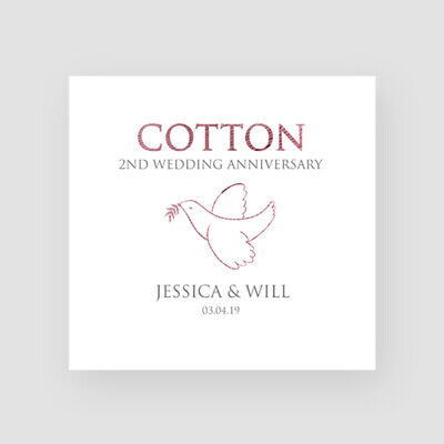 Handmade Personalised 2nd Wedding Anniversary Card Cotton Dove Traditional Cute • 3.45£