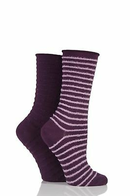 Ladies 2 Pair Elle Bamboo Feather Striped Socks • 9.99£